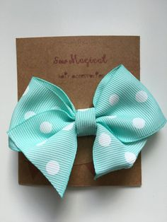 $2.50 Mint & White Polka Dot Clip in Hair Bow by SewMagicalByAndrea