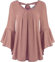 Finice Misses Tops, Womans Boho Peasant Blouse V-Neck Half Bell Sleeve T Shirt Pleat Front Stylish Open V Back Baggy Trapeze Polyester Chiffon Tunic Top Dark Pink XXL at Amazon Women's Clothing store: