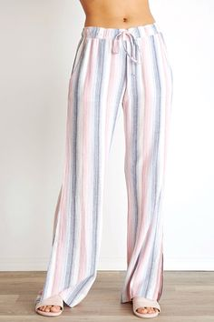 Bella Dahl, Side Slit Wide Leg Pant in Sunset Stripe from Viva Diva Boutique Fashion Pants, Fashion Outfits, Womens Fashion, Floral Palazzo Pants, Summer Outfits, Casual Outfits, Diva Boutique, Simple Shirts, Contemporary Fashion