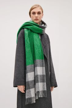 COS Check and stripe scarf  in Green