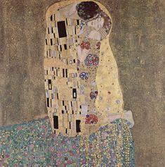 """Em """"O Beijo"""", Klimt retrata a si proprio e sua amante Emilie, a mulher fatal aparece submissa, comunicando uma sexualidade latente.""""O Beijo"""" constitui o auge do período dourado e torna-se o emblema da Secessão."""