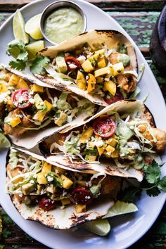 Baja Fish Tacos by halfbakeadharvest: Simple, fast to throw together, perfect for tonight. #Tacos #Fish #Mango