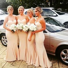 Gorgeous #bridesmaids in our Nude Arianna Dresses See more here: https://whiterunway.com/nude-arianna-dress.html