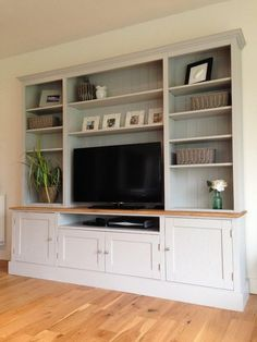 17 DIY Entertainment Center Ideas and Designs For Your New Home - EnthusiastHome - New Solid Pine & Oak Welsh Dresser TV Unit Stand Cabinet Painted Shabby Chic Built In Shelves, Built Ins, Built In Tv Wall Unit, Wall Units For Tv, Dresser With Tv, Welsh Dresser, Oak Dresser, Built In Entertainment Center, Shabby Chic Entertainment Unit