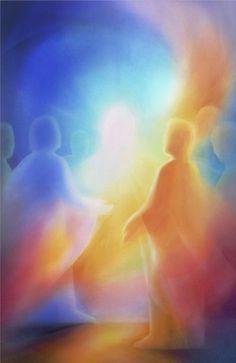 Jesus Spirit and people worshiping. Colorful Prophetic art.
