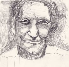 old woman, drawing