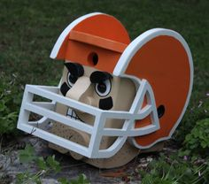 #Football Player Birdhouse, You Pick the Helmet Colors by DadandSonsWW