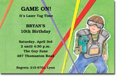 When searching Polka Dot Kids Birthday Invitations for kids party themes, you may think of a laser tag birthday party. When you do, this Laser Tag Boy Invitation from Picture Perfect will be the one for you. Whether your kid is turning 4 or it's his Girl Birthday Themes, Kids Party Themes, Boy Birthday Parties, Party Ideas, 10th Birthday, Birthday Ideas, Picture Invitations, Custom Birthday Invitations, Invitations Online