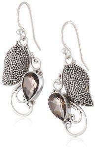 Sterling Silver Balinese with 9X6 Pear Shape Gemstone Dangle Earrings (2.20 Cttw)