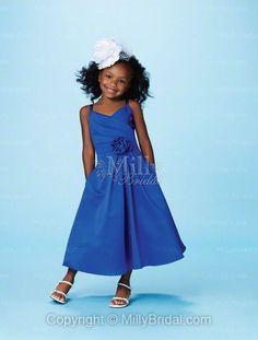 V-neck A-line Ankle Length Flower Royal Blue Satin Flower Girl Dress at Millybridal.com