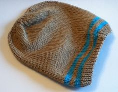 Adult Striped Slouch Hat Knit Pattern by 3colon7 on Etsy