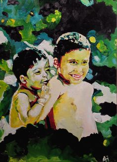 brothers, oil on canvas