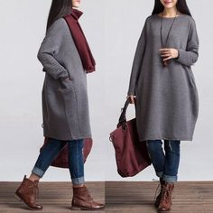 Sweatshirt Dress Top for Autumn and Spring - Women Clothing * Fabric: cotton*·.·*One Shoulder Width: 41 cm Sleeve: 59 cm Length: 97 cm, hips hem Winter Outfits Women, Fall Outfits, Trendy Fashion, Womens Fashion, Fashion Trends, Ladies Fashion, Fashion 2016, Fashion Ideas, Winter Fashion
