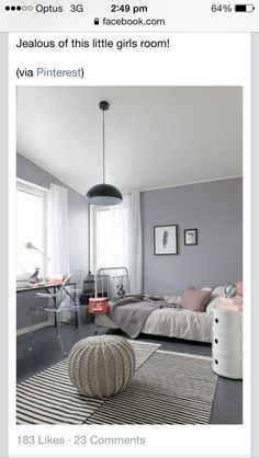 Girls bedroom grey and pretty