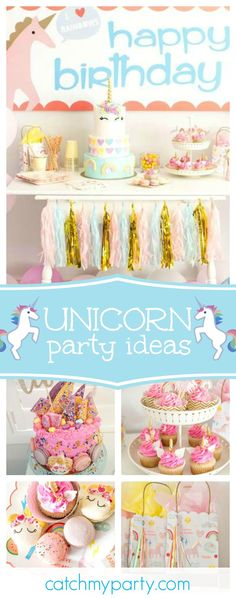 Don't miss this adorable Rainbows and Unicorns birthday party. The 2 cakes are incredible!! See more party ideas and share yours at CatchMyParty.com