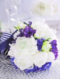 Yu's fleur (ユーズフルール)Wedding flower 港区ベイエリア flower Salon ブルー芍薬 紫陽花 アネモネブーケ