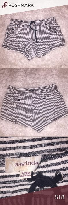 SUMMER SHORTS Black and White Summer shorts!  Vertical Striped.  Only worn Twice.  Somewhat adjustable waistband.  // FOR MEASUREMENTS PLEASE LET ME KNOW Rewind Shorts