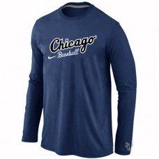 Wholesale Men Chicago White Sox Authentic Team Name Long Sleeve Dark Blue T-Shirt_Chicago White Sox T-Shirt