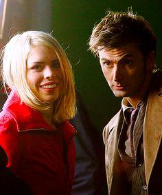David and Billie on set