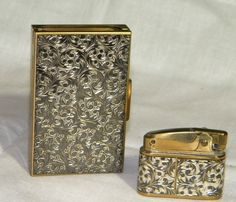 Vintage Cigarette Lighter and Matching Ashtray Compact