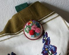 Vintage Embroidered Flower Brooch / Japanese Vintage Brooch / Flower Pins - Edit Listing - Etsy