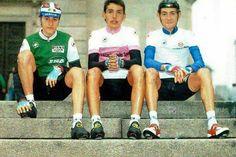 Sinistra a destro... Ivan Gotti, Wladimir Belli, e Marco Pantani come i giovani...