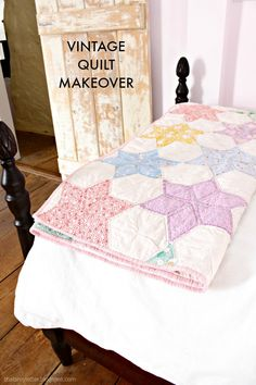 That's My Letter: vintage quilt makeover (one top made into 2 quilts)