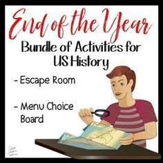 It's the end of the year! How do you keep your students engaged and focused? With CHOICE BOARDS and ESCAPE ROOMS! This bundle of resources will provide YOU CHOICES for how to keep your students learning until the last day of school. The End of the Year Social Studies Games, Social Studies Classroom, High School Classroom, Study History, Us History, Last Day Of School, Middle School, Choice Boards, Instructional Strategies