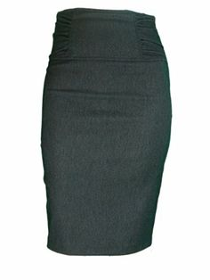 Gathered High Waist Stretch Pencil Skirt In Your Choice of Colors - Plus Sizes Included (1X-Large, Charcoal Denim) Moontree,http://www.amazon.com/dp/B00CIWQLXS/ref=cm_sw_r_pi_dp_3mXUsb11FKFPY8MX