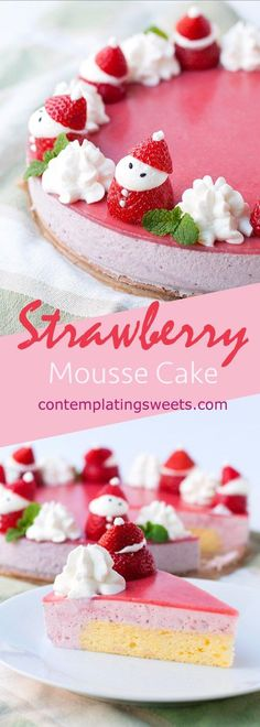 Strawberry Mousse Cake - This sounds delicious! I love the idea of using strawberries to give this cake a Christmas twist!