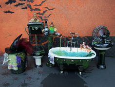 Dollhouse Miniature Four Piece Witch Bath Set 1/12 scale from 19thdayminiatures on Etsy
