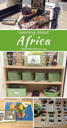 The Continent of Africa - Trillium Montessori Continents Activities, Preschool Art Activities, Preschool Lesson Plans, Preschool Activities, Africa Activities For Kids, Preschool Printables, Montessori Preschool, Montessori Education, Montessori Elementary