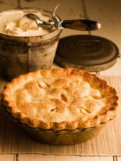 Old-Fashioned Apple Pie and perfect butter pie crust. I cut the sugar in the filling in half because our apples are already so sweet
