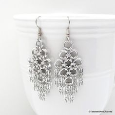 Chainmail earrings, silver aluminum with steel chains, $40 by TattooedAndChained