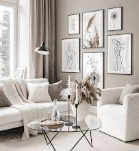 Gallery Wall Inspiration - Shop your Gallery Wall Beige Living Rooms, Home Living Room, Apartment Living, Interior Design Living Room, Living Room Designs, Beige Room, Beige Walls, Neutral Living Rooms, Living Room Decor Grey And White