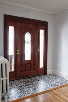 A DIY stenciled entryway floor using the Augusta Tile Stencil from Cutting Edge Stencils.cuttingedgest… Painted Tile Tutorial Entry Way Makeover (Part Room Paint Colors, Interior Paint Colors, Interior Painting, Living Room Paint, Living Room Interior, Living Rooms, Decorating Blogs, Interior Decorating, Painting Tile Floors