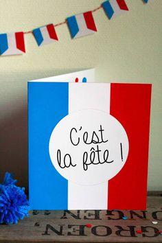 Carte d'invitation pour fêter le 14 Juillet !  French invitation.
