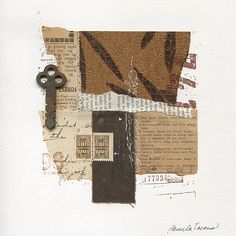 """""""Before the Roar"""" Mixed-media abstract collage with found papers, ink and a rusty key. 8″ x 8″"""
