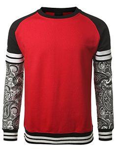 URBANCREWS Mens Hipster Hip Hop 22 Paisley Sleeves Pullover Sweatshirt
