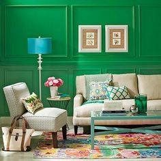 Green pulls out all the stops in this jewel box living room! More color schemes here: http://www.bhg.com/decorating/color/schemes/living-room-color-schemes/?socsrc=bhgpin020815greengoddess&page=23