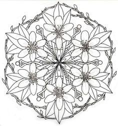 Mandala Tattoo Vorlage mit Zweigen und Blüten
