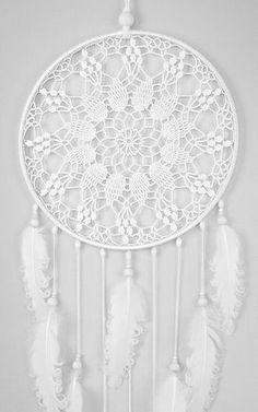 Plumas blancas de blanco sueño Catcher gran atrapasueños ganchillo tapete Dreamcatcher boho dreamcatchers colgando de la pared decoración de la pared decoración boda por DreamcatchersUA