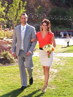 Grey teal and coral wedding colors #bridesmaid#groomsmenattire