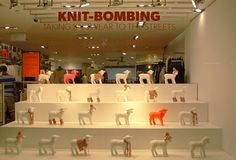 "WAREHOUSE,London,UK, ""Knit-Bombing"", (Taking knitwear to the street), photo by VM, pinned by Ton van der Veer"