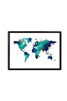 Watercolor world map poster. Digital wall art 1 PDF file in vector 11 x14 format (so you can scale and print this in 8 x 10, 11x14, 16x20,
