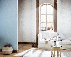 collection Sherwood - papier peint vinyle sur intissé - référence Guirlande bleue 67906048 et uni bleu 67926185 - facile à poser