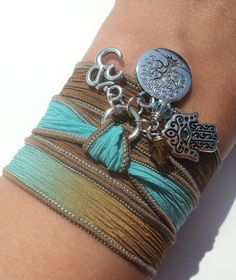 Tree of Life Hamsa Silk Wrap Bracelet Om Yoga Jewelry Blue Brown Namaste Mother Nature Anklet Necklace Earthy Unique Gift Under 50 Item S9. $29.95, via Etsy.