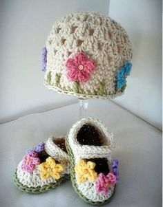 Conjunto Crochet Gorro Sombrero Zapatos Bebe Ni A Ni O 10 000 En