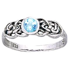 Celtic Knot Round Gemstone Ring - PS-WZTR1742 by Medieval Collectibles