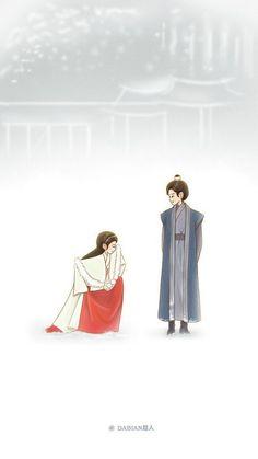 Cute Couple Art, Anime Love Couple, Cute Couples, Cool Art Drawings, Couple Drawings, Korean Art, Cute Korean, Korean Drama, Moon Lovers Quotes